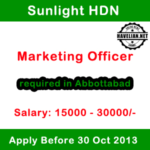 Marketing Officer required in Sunlight HDN Abbottabad