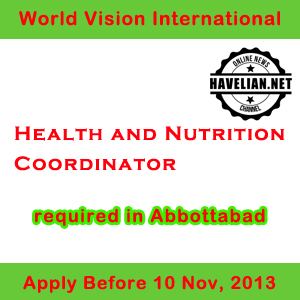 Health and Nutrition Coordinator job in Abbottabad