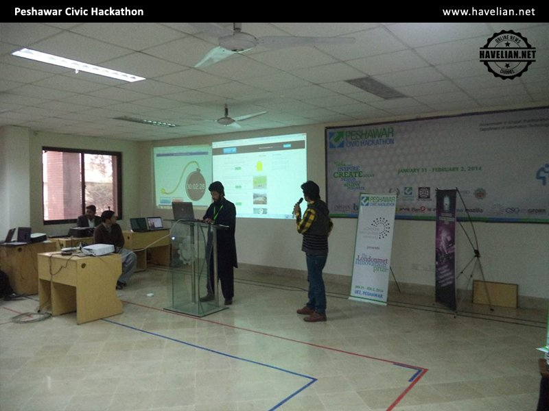 Havelian.Net team presenting the Online Khidmatgar at  Code for Pakistan conference in Peshawar