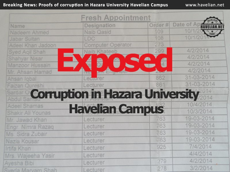 Proofs of corruption in Hazara University Havelian Campus