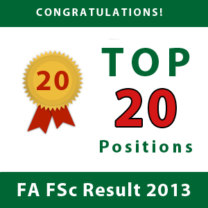 Top 20 Position overall FA and FSC 2013