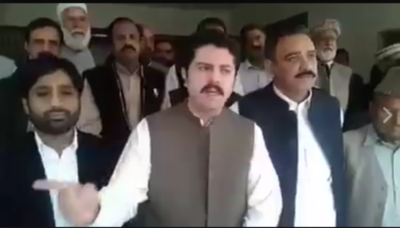 Ali Khan Jadoon while talking to media in Abbottabad