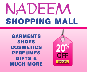 nadeem shopping center, cosmetics, garments, shoes, Ladies, Gents and Children