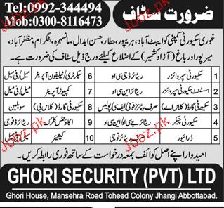 Security Supervisors, Security Guards, Drivers, jobs in Ghori Security Pvt ltd in Abbottabad