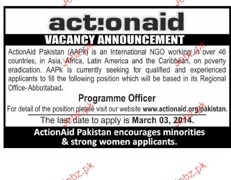 Action aid Abbottabad, Programme Officers job  in Action aid Abbottabad