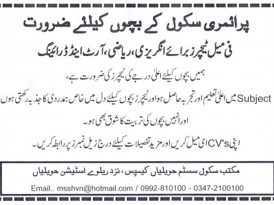 femal, teachers, required, maktab, school, system, havelian, havelian.net, hazara news, kpk news, advertisment