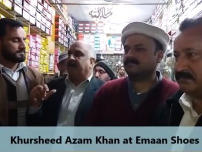 Khursheed Azam Khan speaking to Shopkeepers of Havelian, khursheed, speaking, shopkeepers, havelian, asad mustafa, hazara news, kpk news, advertisment, Khursheed Azam, havelian, shoes shop,