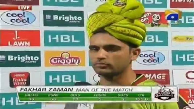 fakhar zaman man of the match